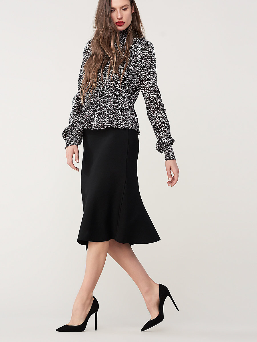 Flute Knit Skirt in Black by DVF