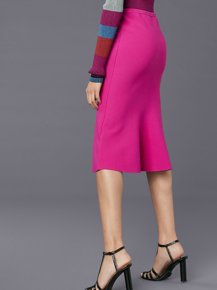 Flute Knit Skirt in Ribbon Pink by DVF