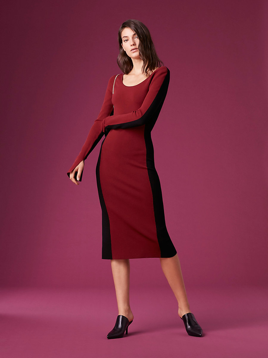 Long-Sleeve Fitted Knit Dress in Bordeaux/ Black by DVF