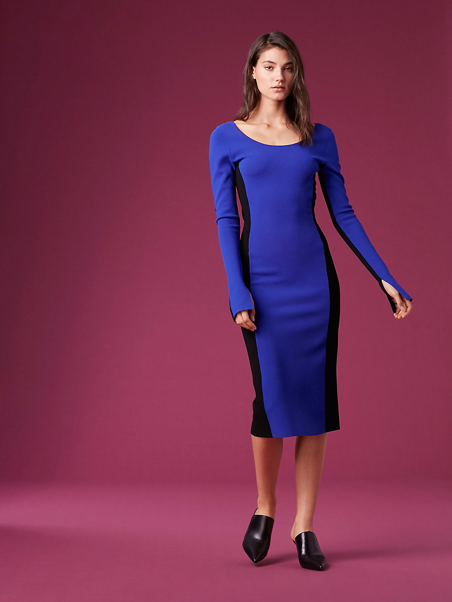 Long-Sleeve Fitted Knit Dress in Electric Blue/ Black by DVF
