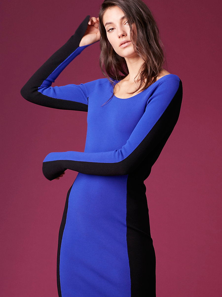 Long-Sleeve Fitted Knit Dress in Electric Blue/black by DVF