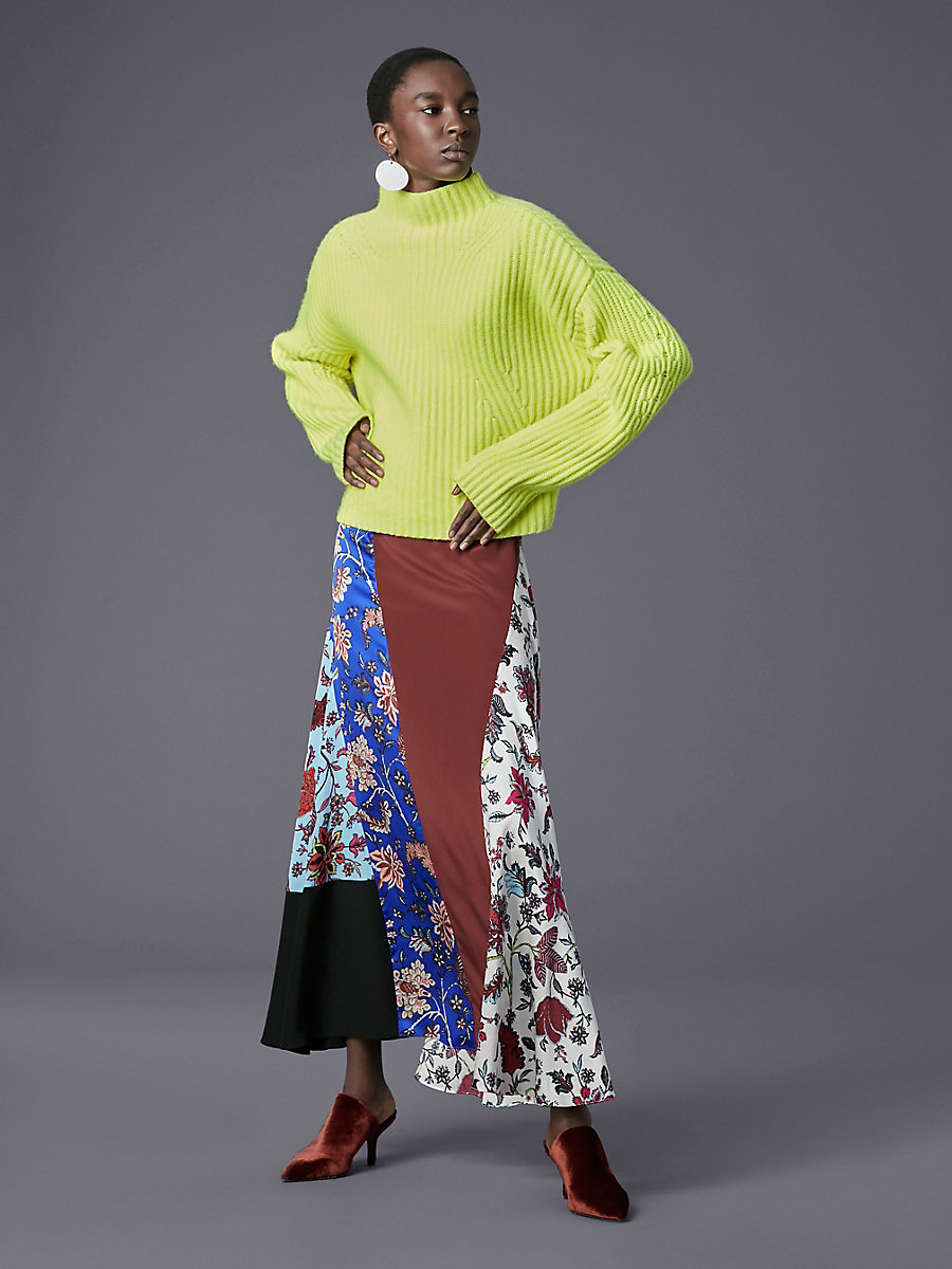 Long-Sleeve Chunky Ribbed Pull Over in Fluorescent Yellow/ Ivory by DVF