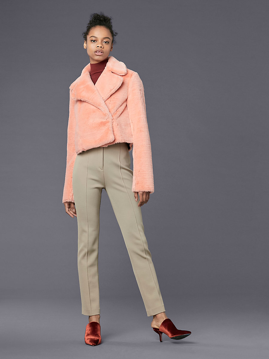Long-Sleeve Collared Faux Fur Jacket in Sherbet by DVF