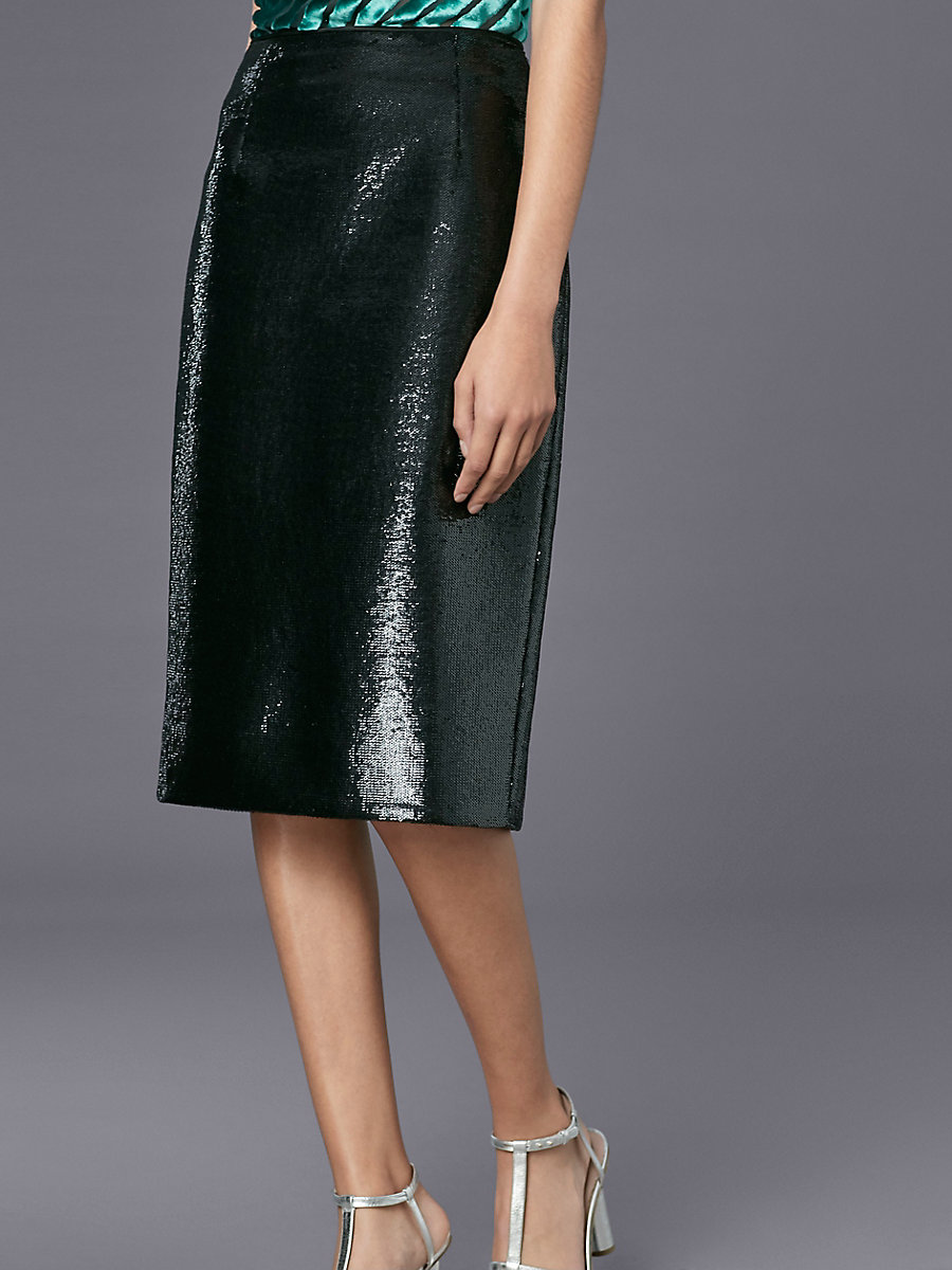 Sequin Pencil Skirt in Black by DVF