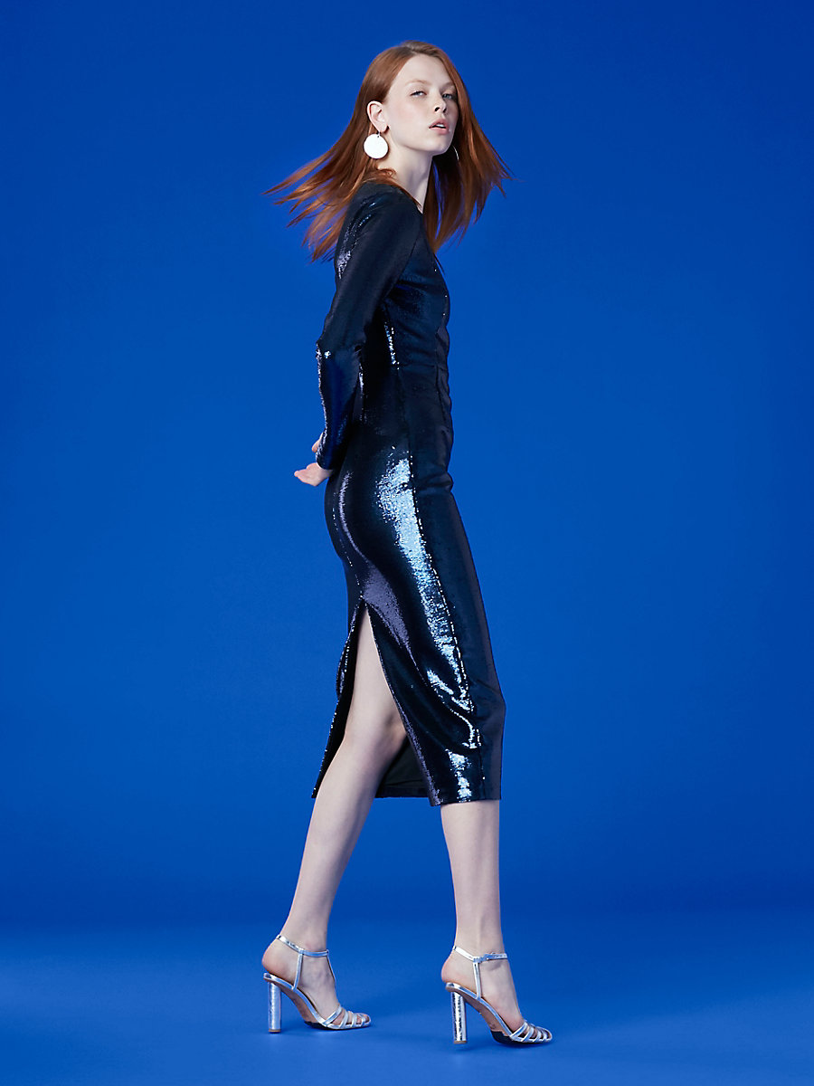Long-Sleeve Crew Neck Sequin Dress in Alexander Navy by DVF
