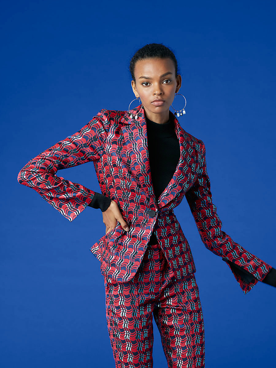 Tailored Jacket in Lipstick/ New Navy/ Marine by DVF