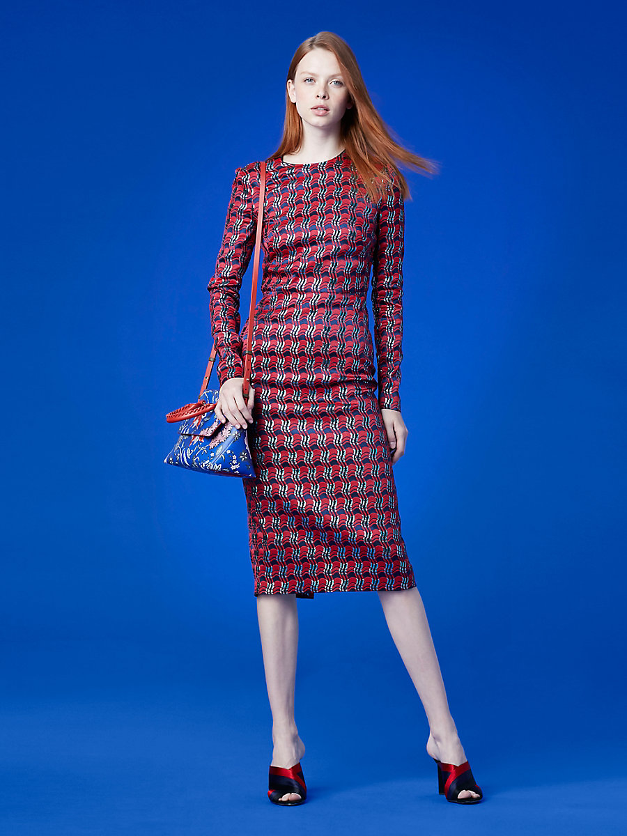 Long-Sleeve Crew Neck Tailored Dress in Lipstick/ New Navy/ Marine by DVF