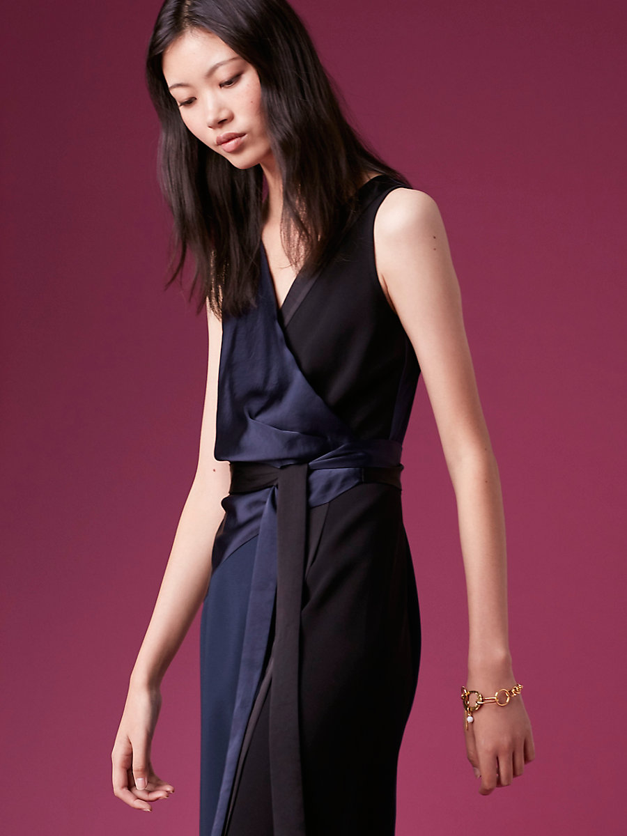 Sleeveless Taped Wrap Dress in Alexander Navy/ Black by DVF