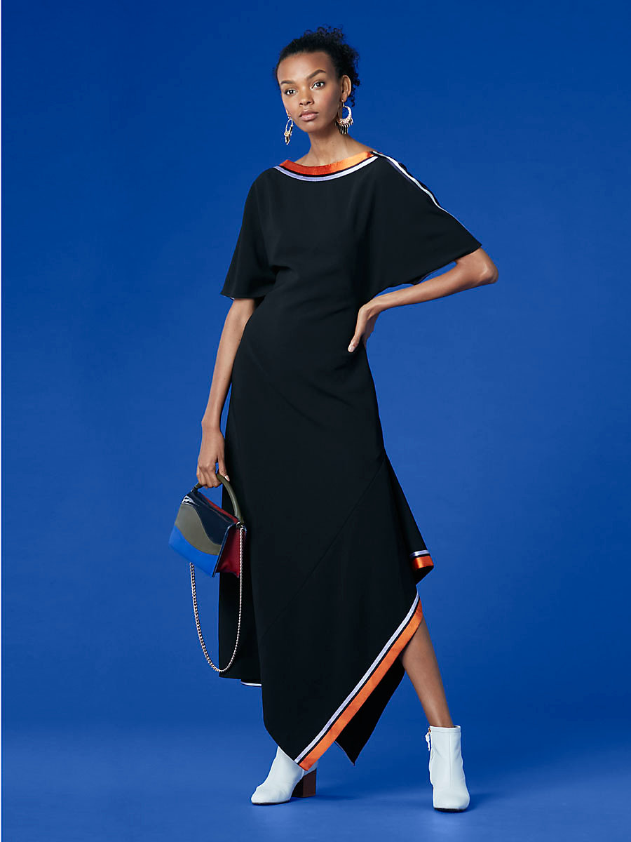 Open Backed Ribbon Dress in Black by DVF