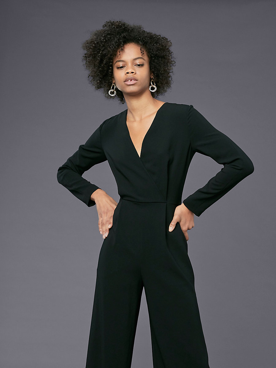 Long-Sleeve Crossover Jumpsuit in Black by DVF