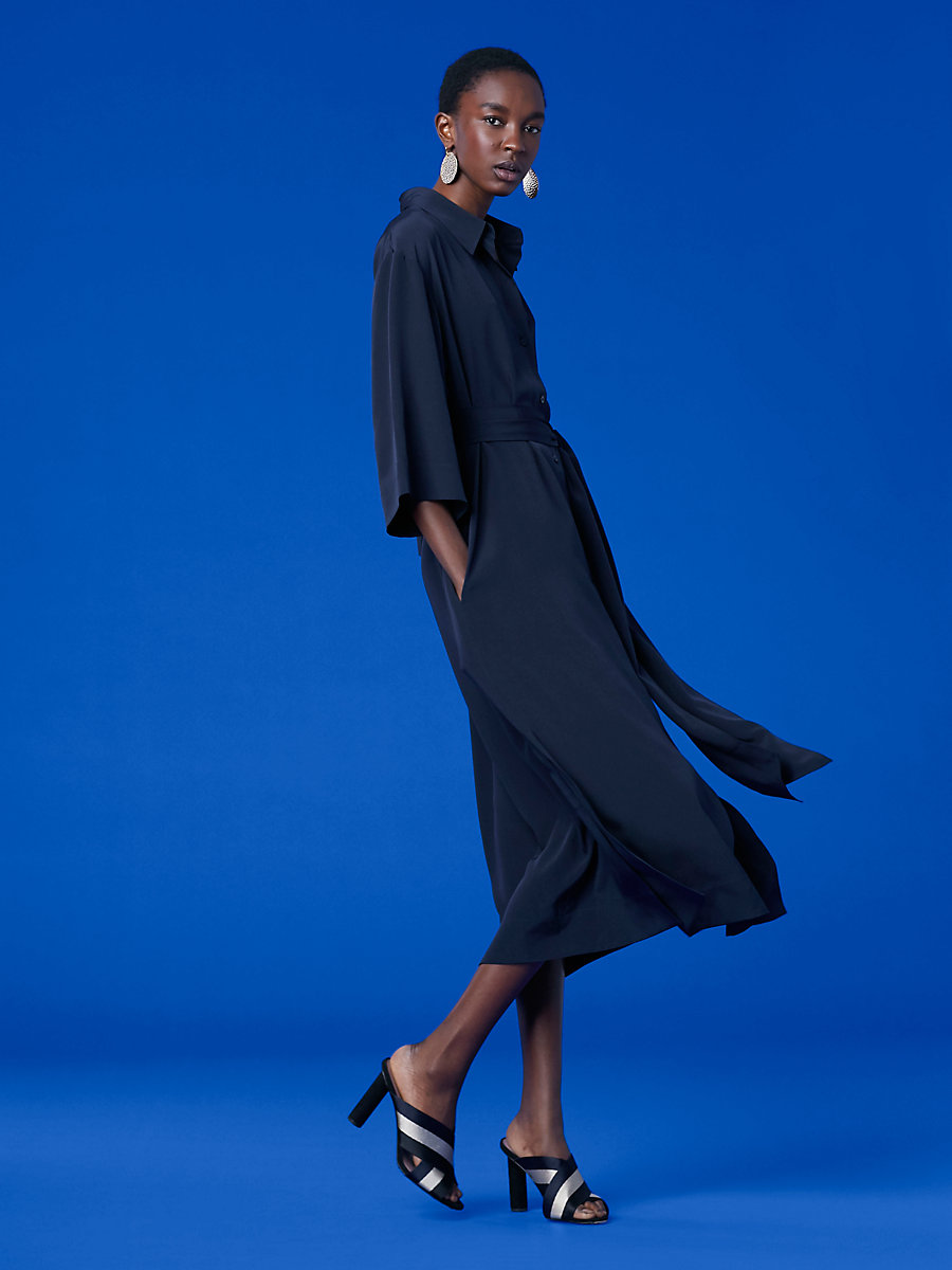 ¾ Sleeve Belted Shirtdress in Alexander Navy by DVF