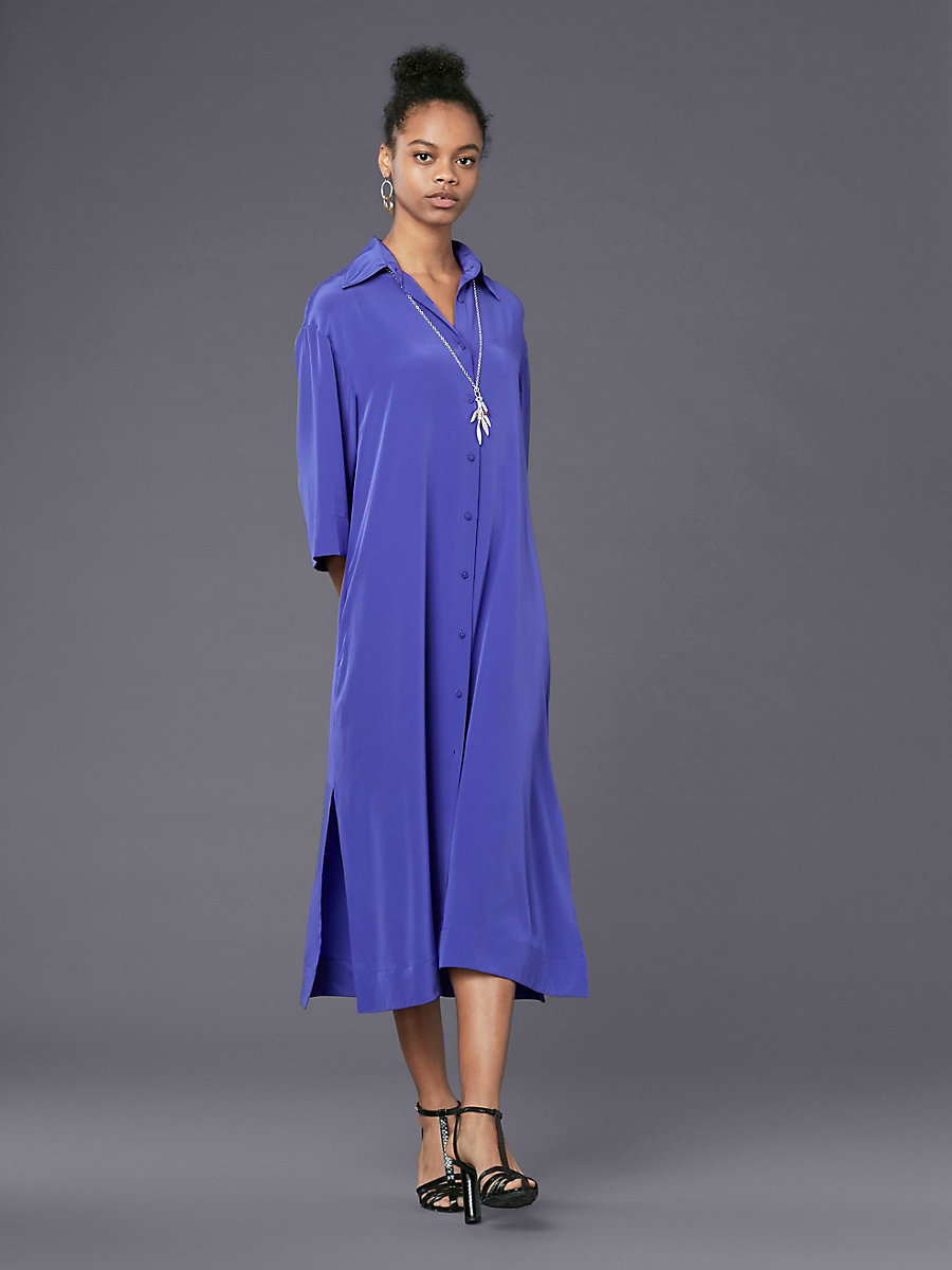 ¾ Sleeve Belted Shirtdress in Amethyst by DVF