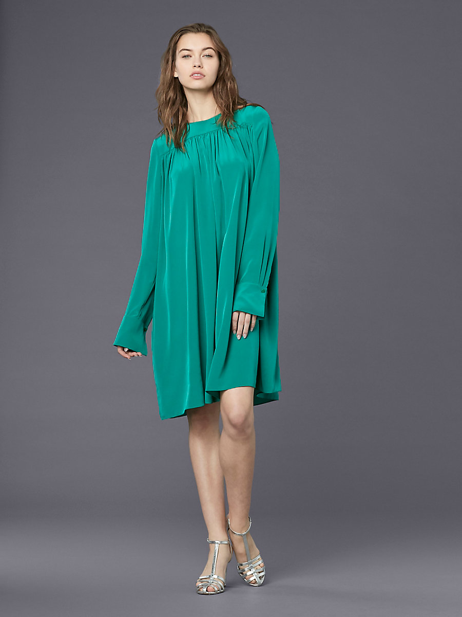 Long-Sleeve Crew Neck Tent Dress in Jade by DVF