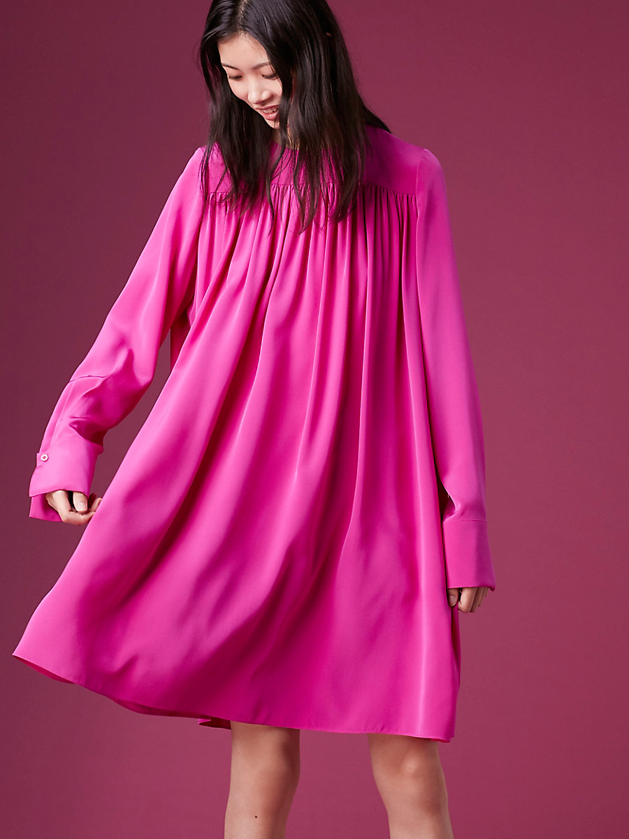 Long-Sleeve Crew Neck Tent Dress in Ribbon Pink by DVF
