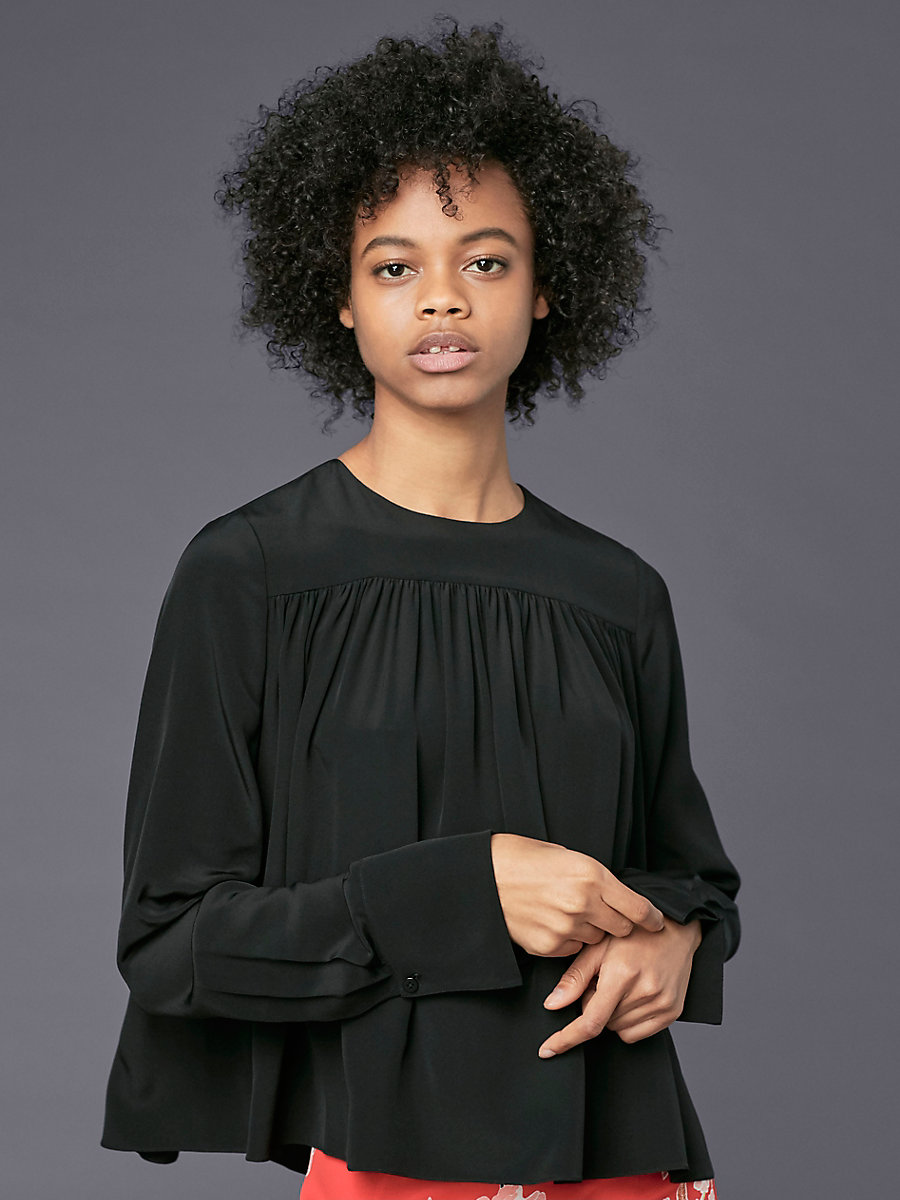 Long-Sleeve Crew Neck Tent Blouse in Black by DVF