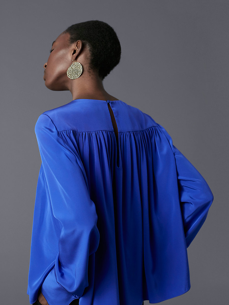 Long-Sleeve Crew Neck Tent Blouse in Electric Blue by DVF