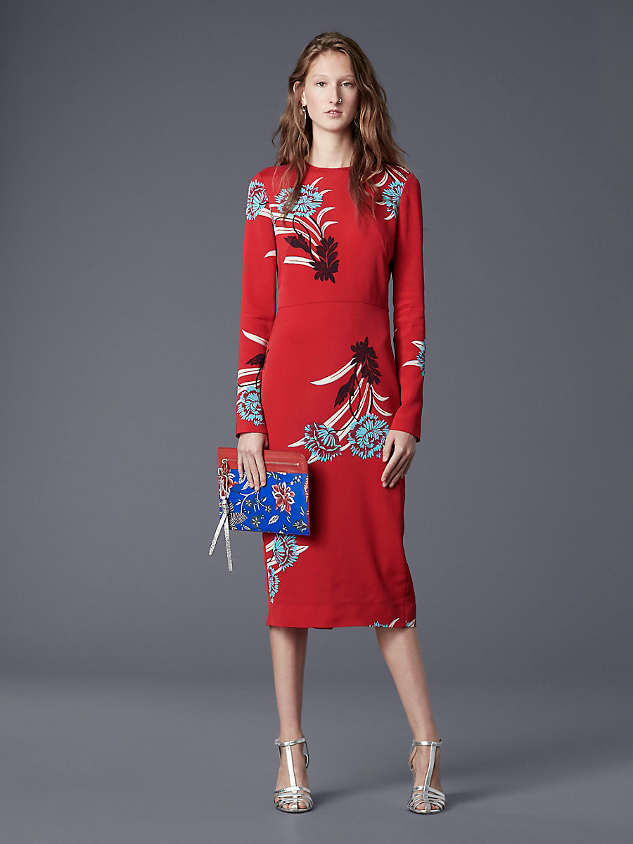 Long-Sleeve Crewneck Tailored Dress in Farren Lipstick by DVF