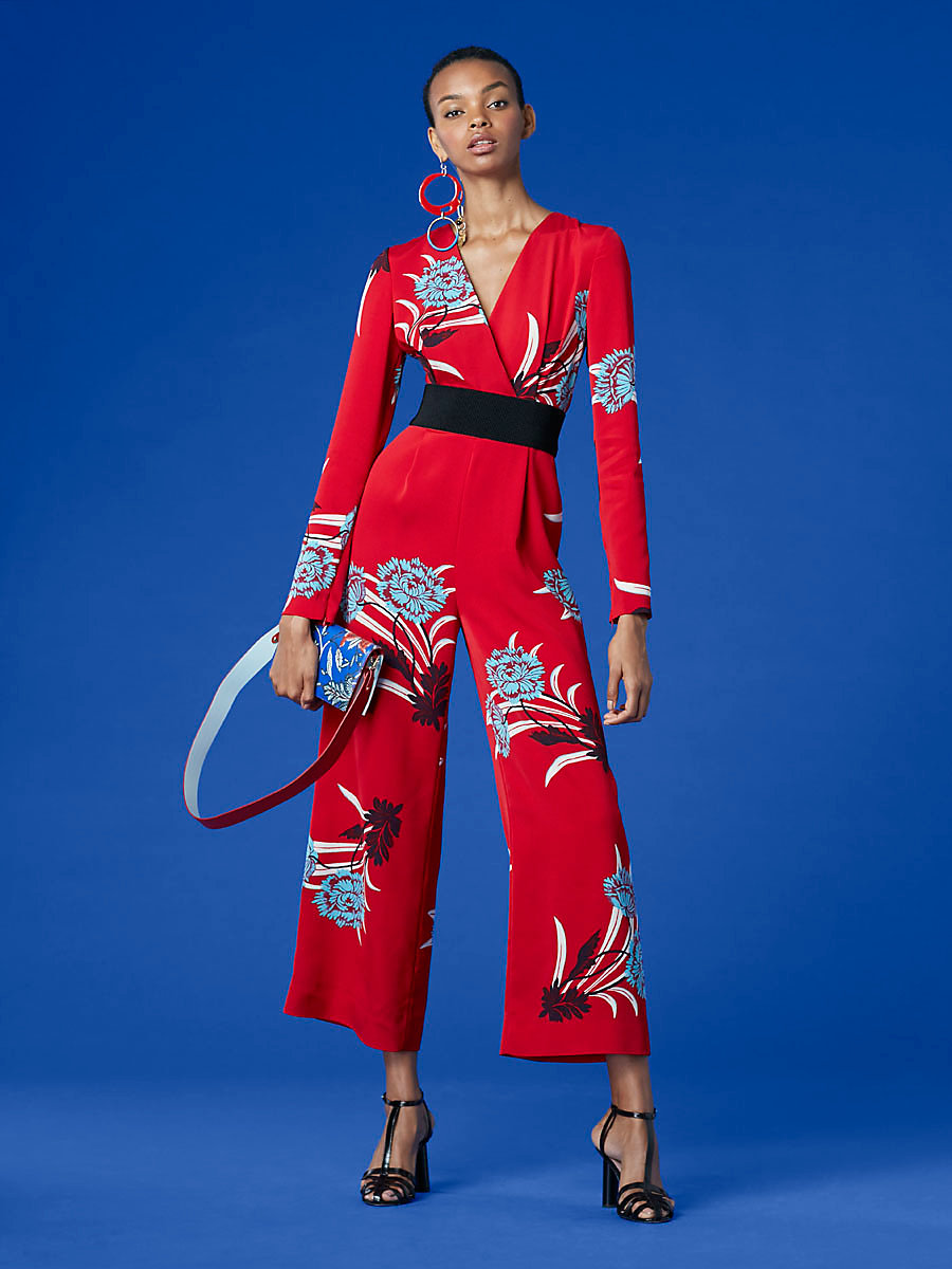 Long-Sleeve Cross Over Jumpsuit in Farren Lipstick by DVF