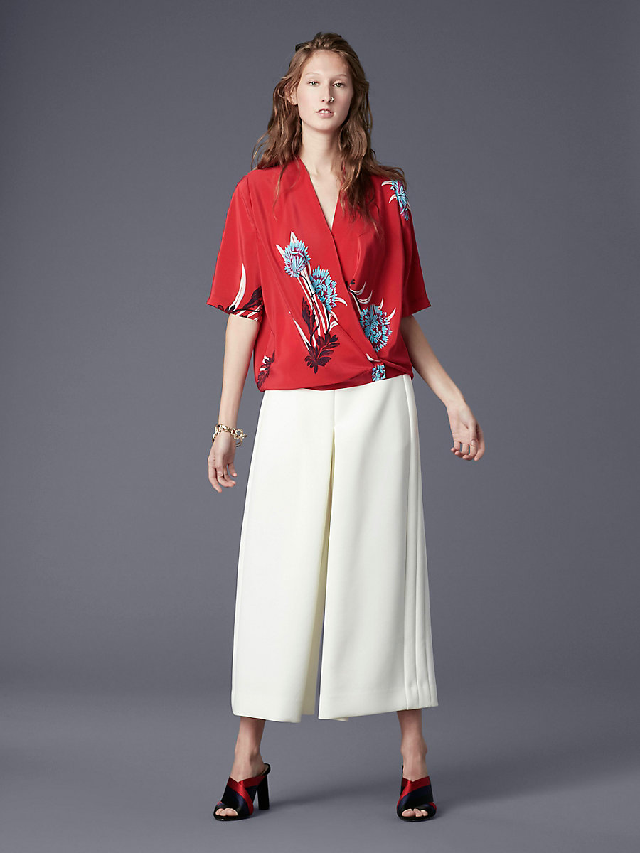 Short-Sleeve Cross-Over Blouse in Farren Lipstick by DVF
