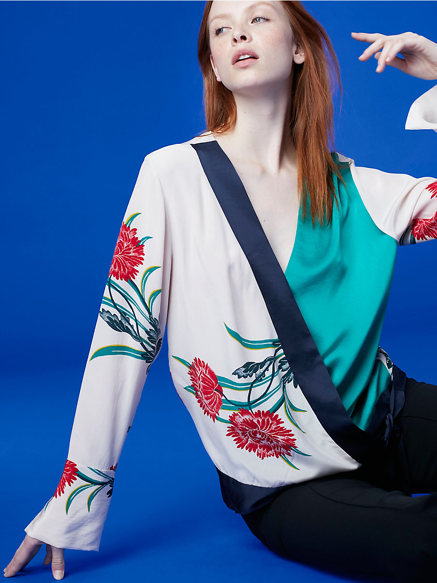 Long-Sleeve Cross Over Top in Farren Pearl/ Navy/ Jade by DVF