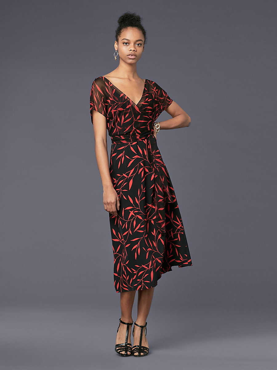 Short-Sleeve Overlay Front Tie Dress in Shelton Black by DVF