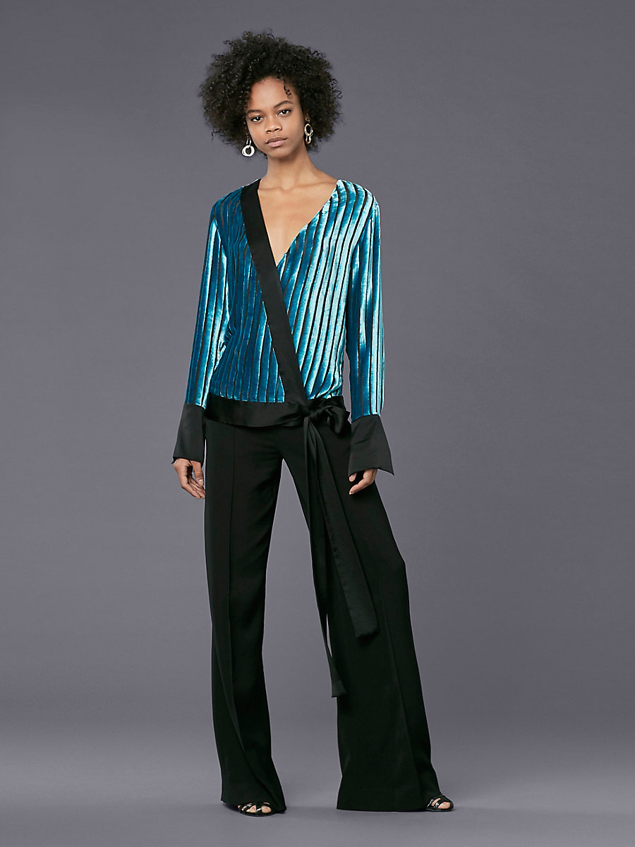 Long-Sleeve Cross Over Velvet Blouse in Black/ Marine by DVF
