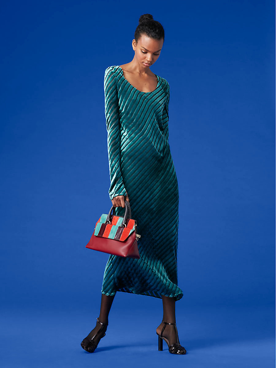 Long-Sleeve Scoop Neck Velvet Gown in Forest/ Jade by DVF