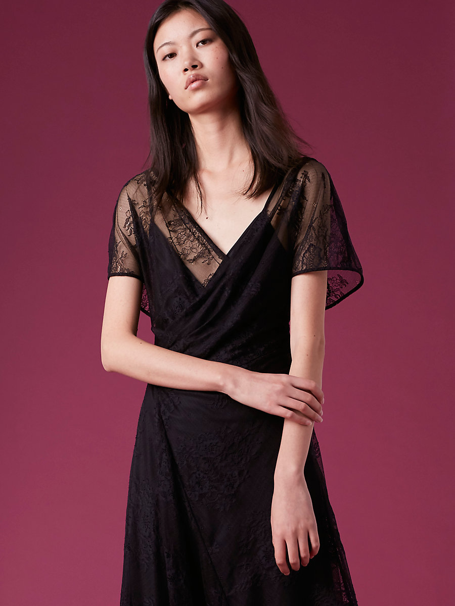 Short-Sleeve Draped Lace Dress in Black by DVF