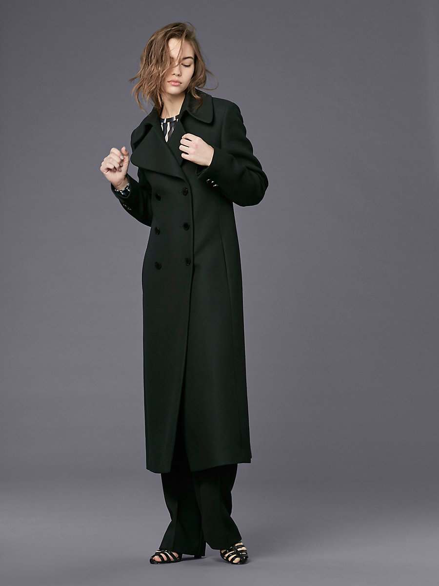 Wool Double-Breasted Coat in Black by DVF
