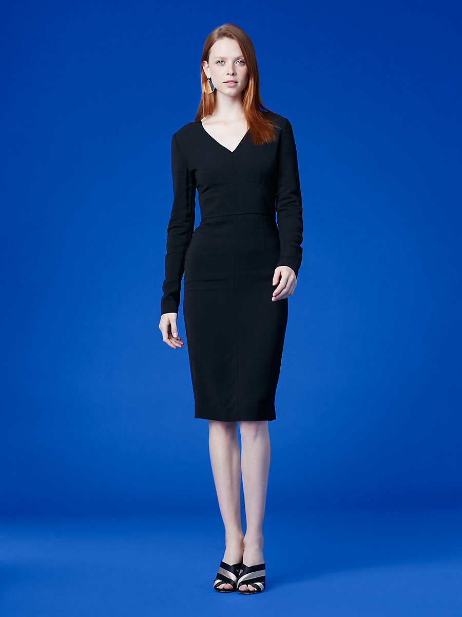 Long-Sleeve V-Neck Tailored Dress in Black by DVF