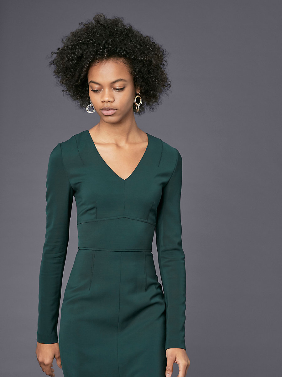 Long-Sleeve V-Neck Tailored Dress in Forest by DVF