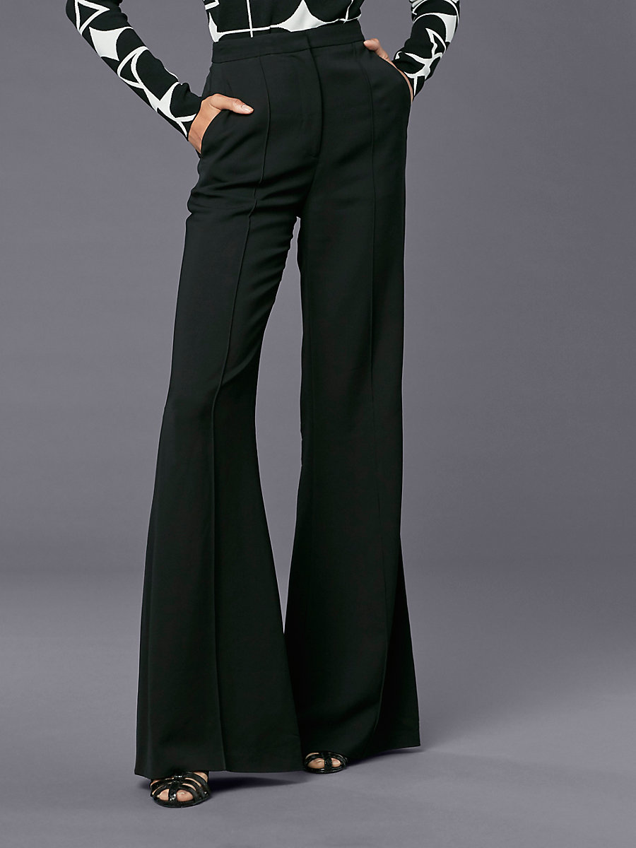 Pleat Front Flare Pant in Black by DVF