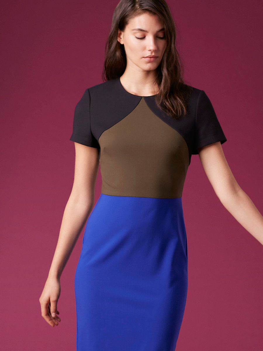 Short-Sleeve Tailored Midi Dress in Electric Blue/ Olive/ Black by DVF