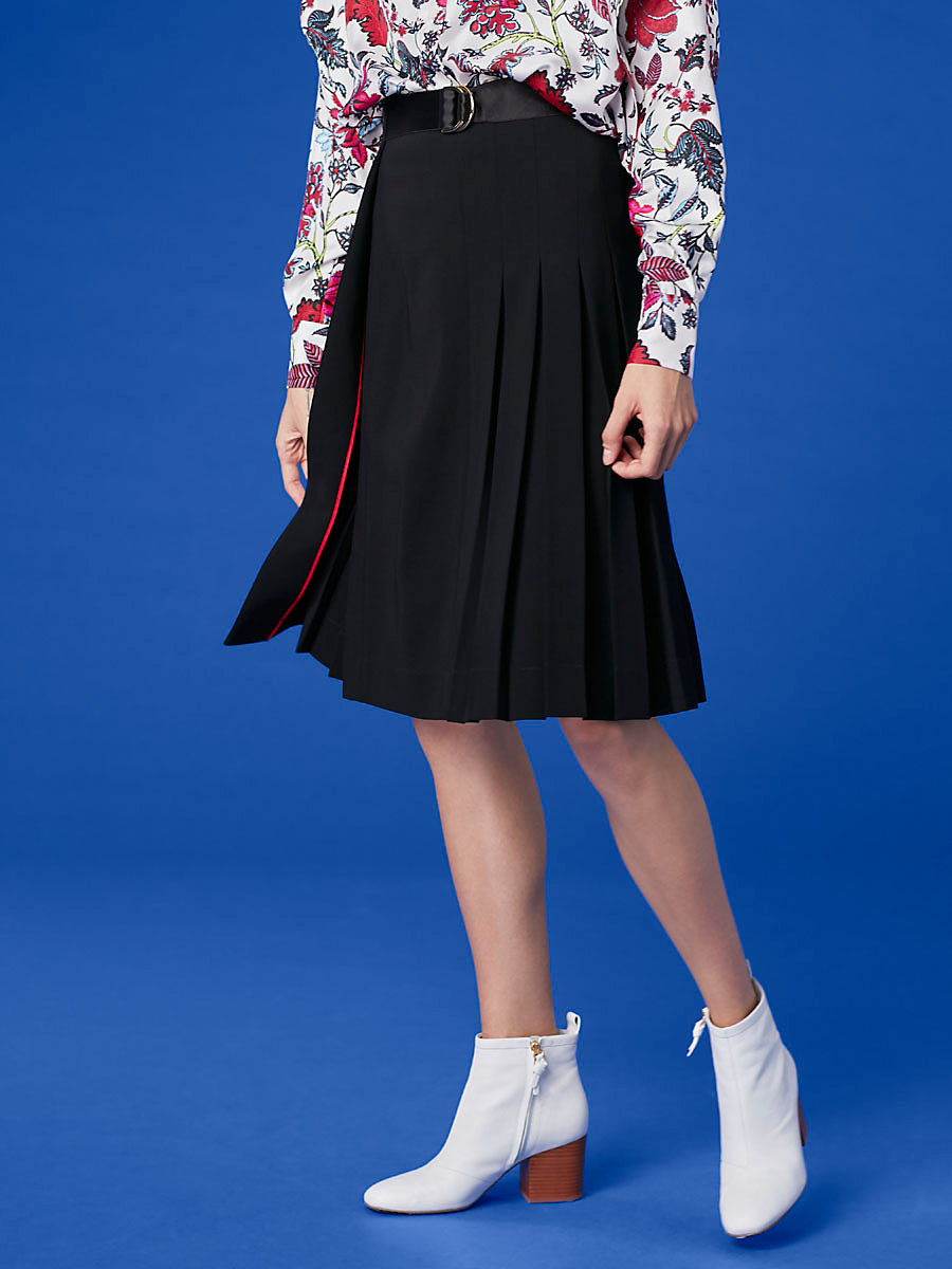 Belted Kilt Skirt in Black by DVF