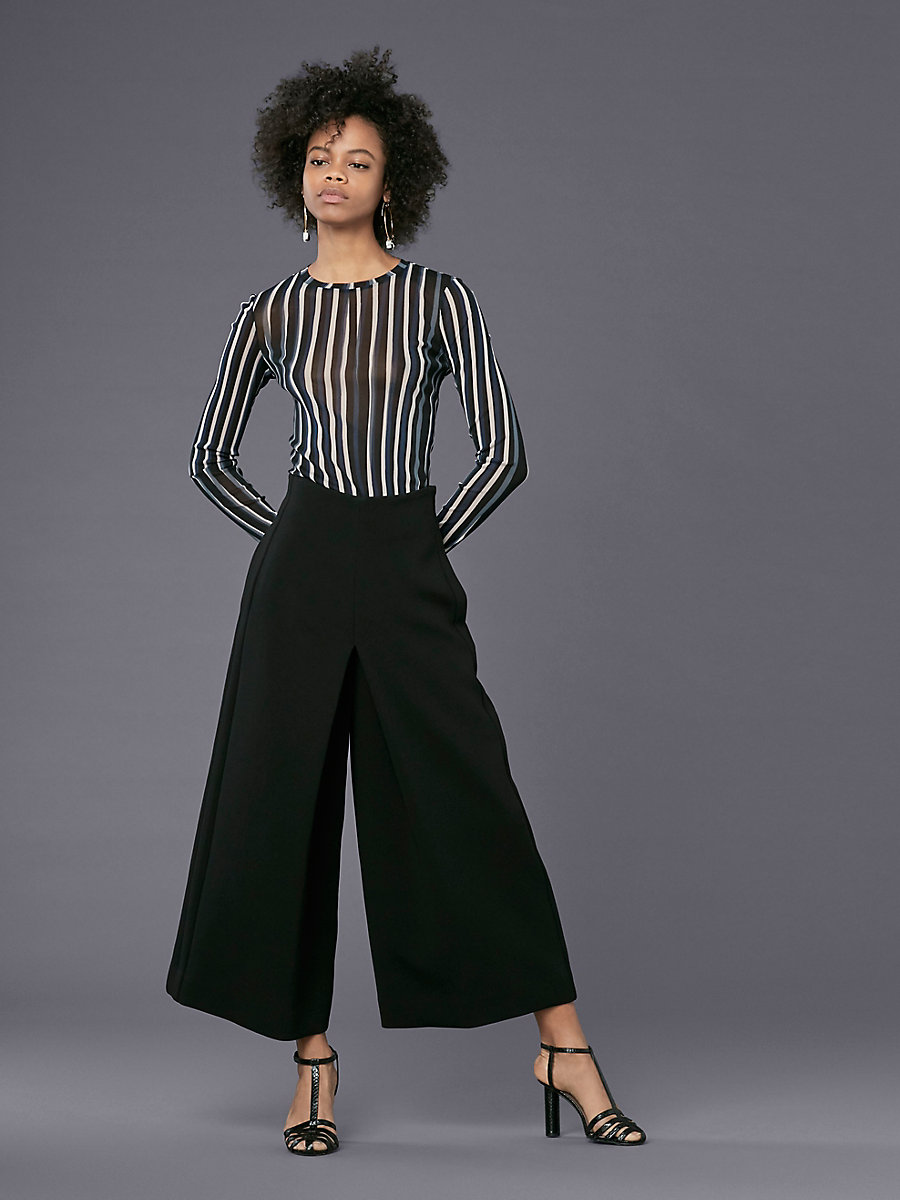High-Waisted Wide Leg Pant in Black by DVF