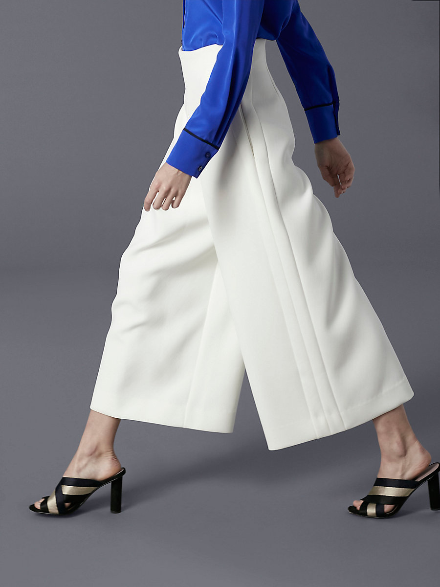 High-Waisted Wide Leg Pant in Ivory by DVF