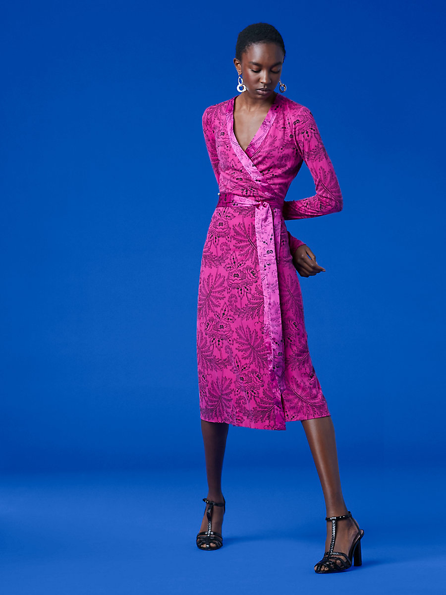 Long-Sleeve Banded Wrap Dress in Ullman Ribbon Pink by DVF