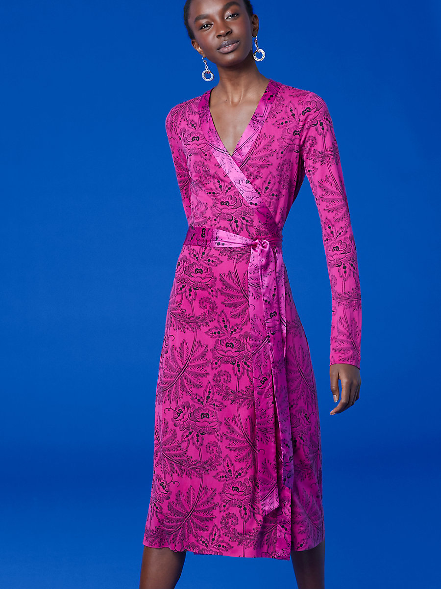 Long-Sleeve Cybil Banded Dress in Ullman Ribbon Pink by DVF