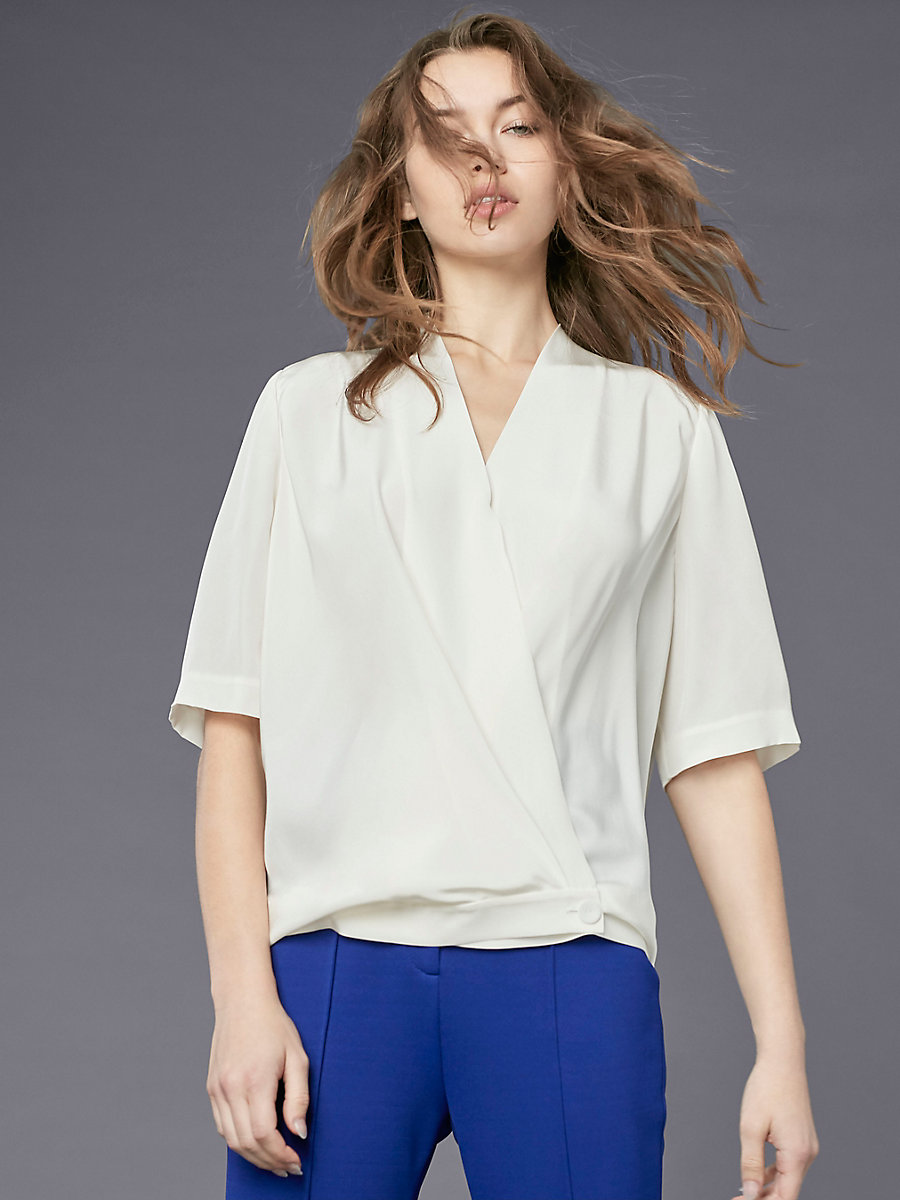 Short-Sleeve Cross-Over Blouse in Ivory by DVF