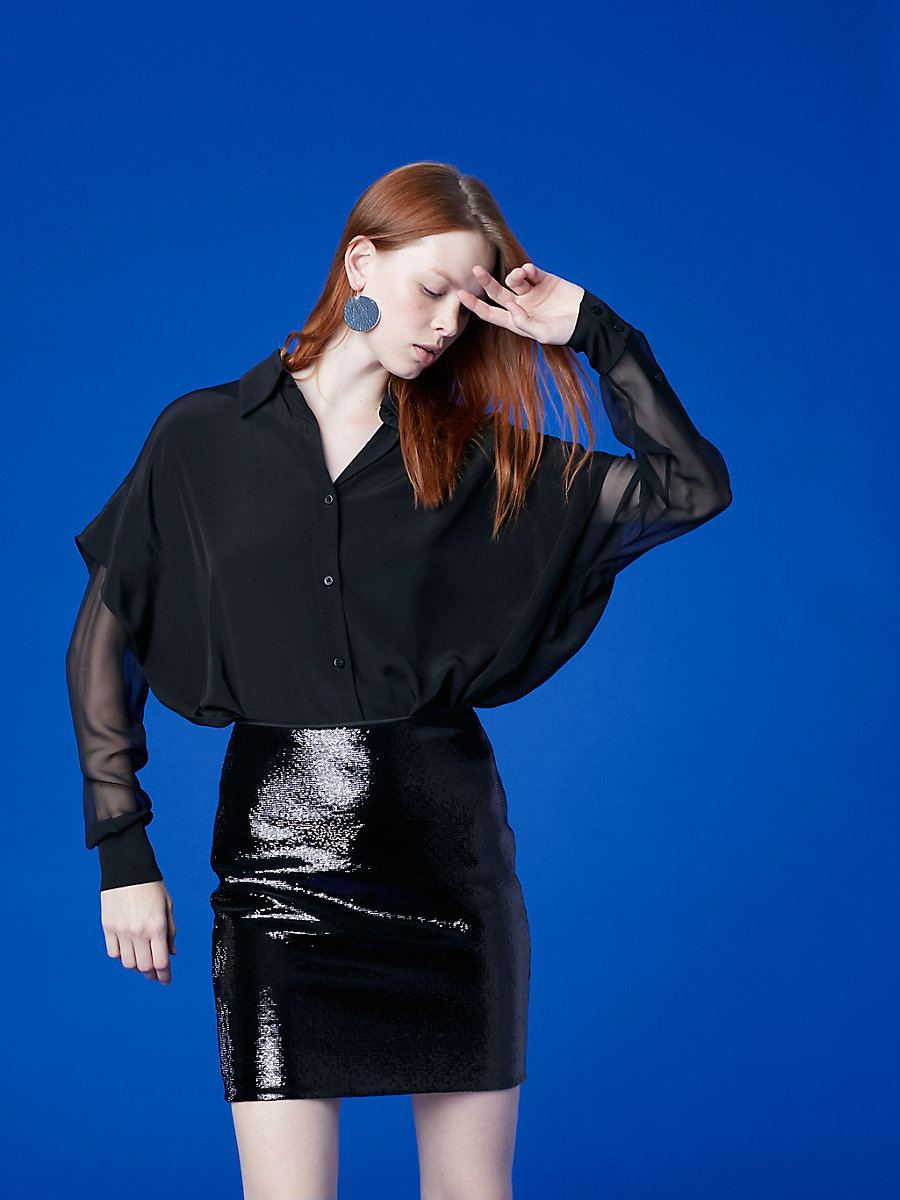 Long-Sleeve Button-Down Shirt in Black by DVF