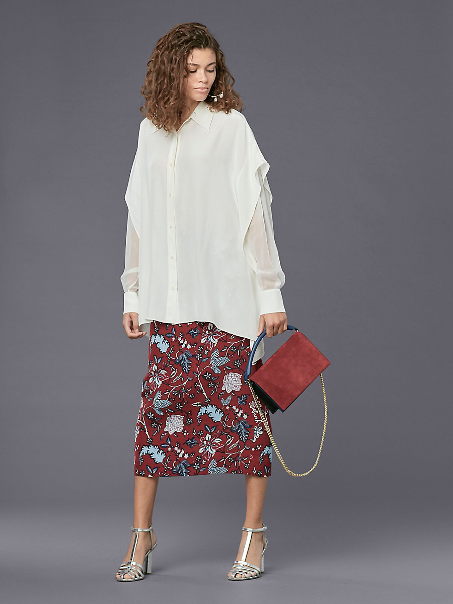Long-Sleeve Button-Down Shirt in Ivory by DVF