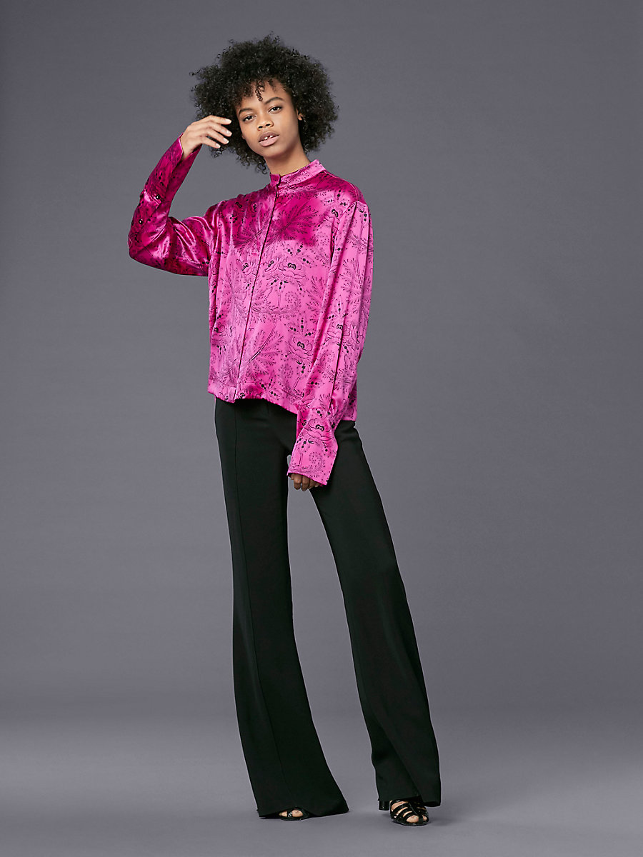 Long-Sleeve Collared Button-Down Top in Ullman Ribbon Pink by DVF