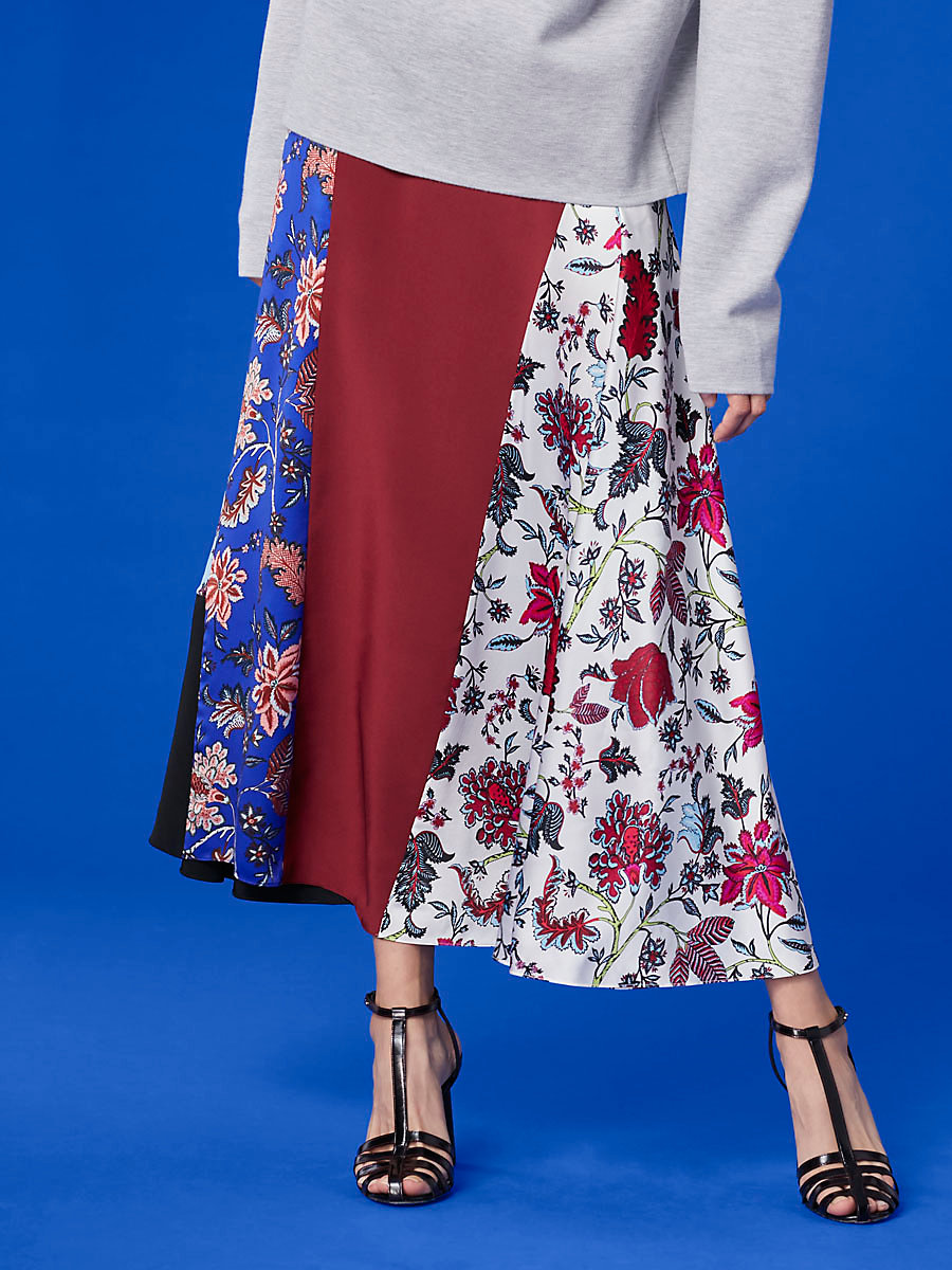 Bias Draped Paneled Skirt in Canton Notebook Multi by DVF