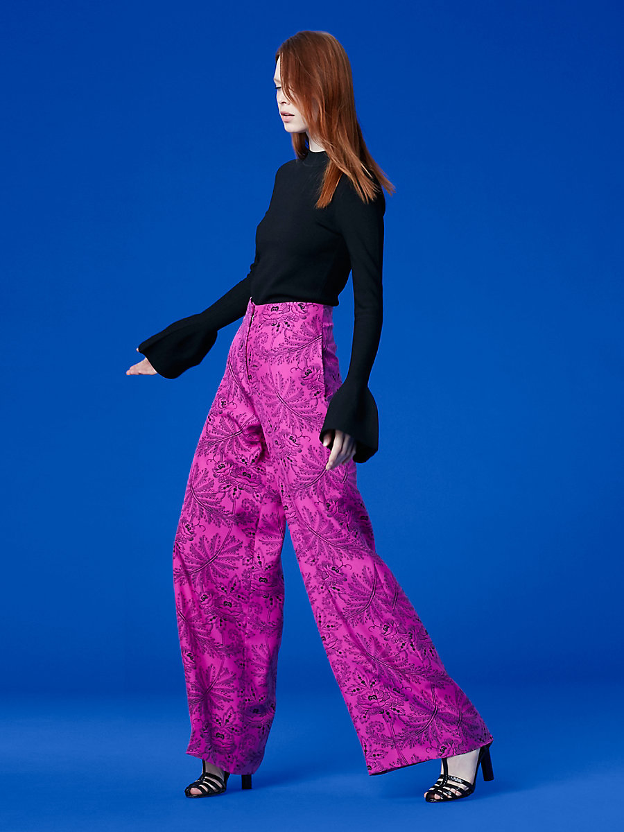 Wide Leg Pant in Ullman Ribbon Pink by DVF