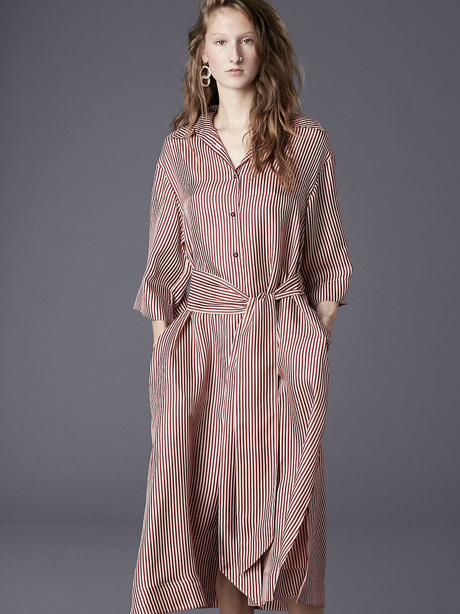 ¾ Sleeve Belted Shirt Dress in Emory Stripe Bordeaux by DVF