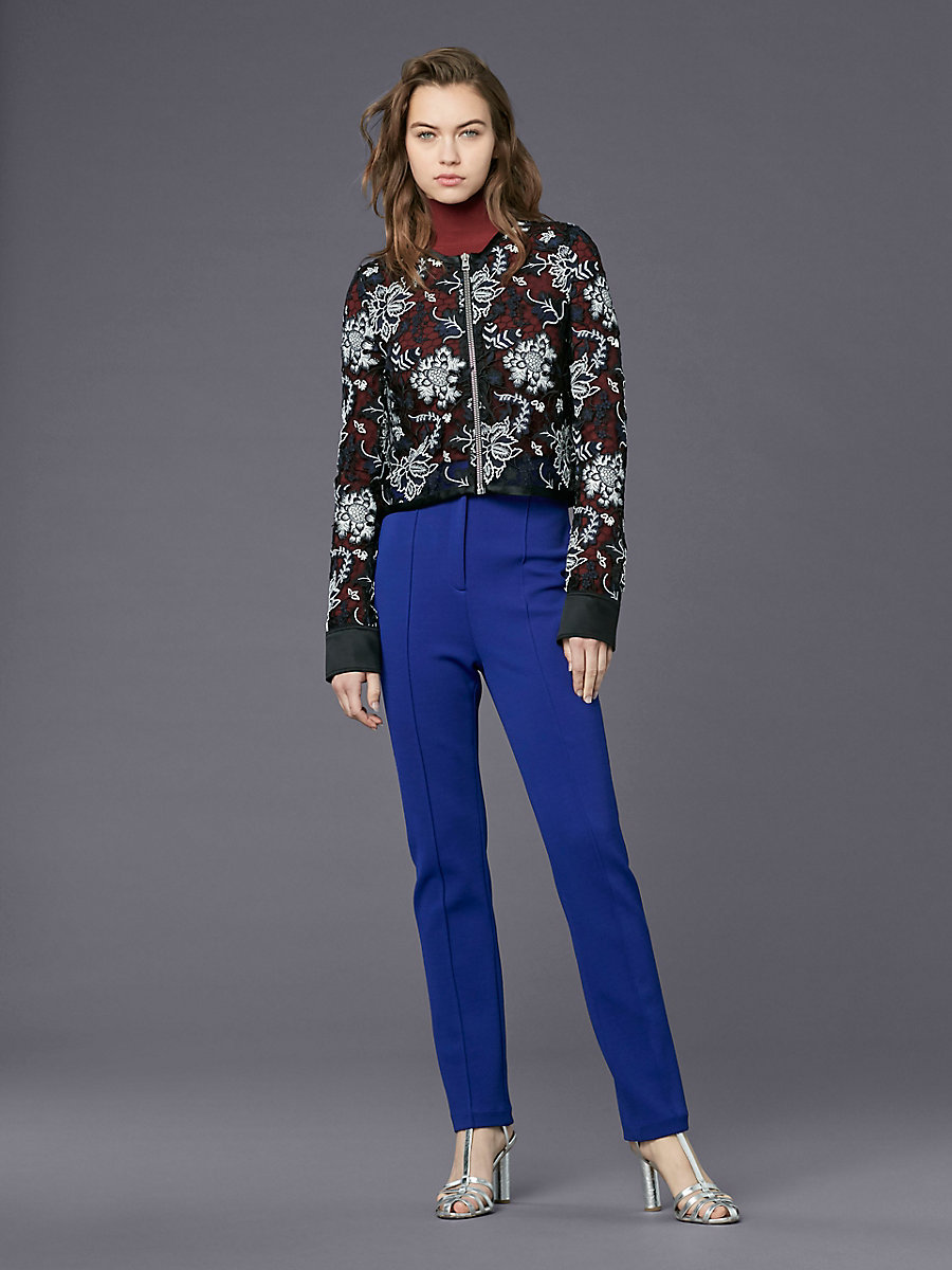 Zip Front Lace Jacket in Black Multi by DVF