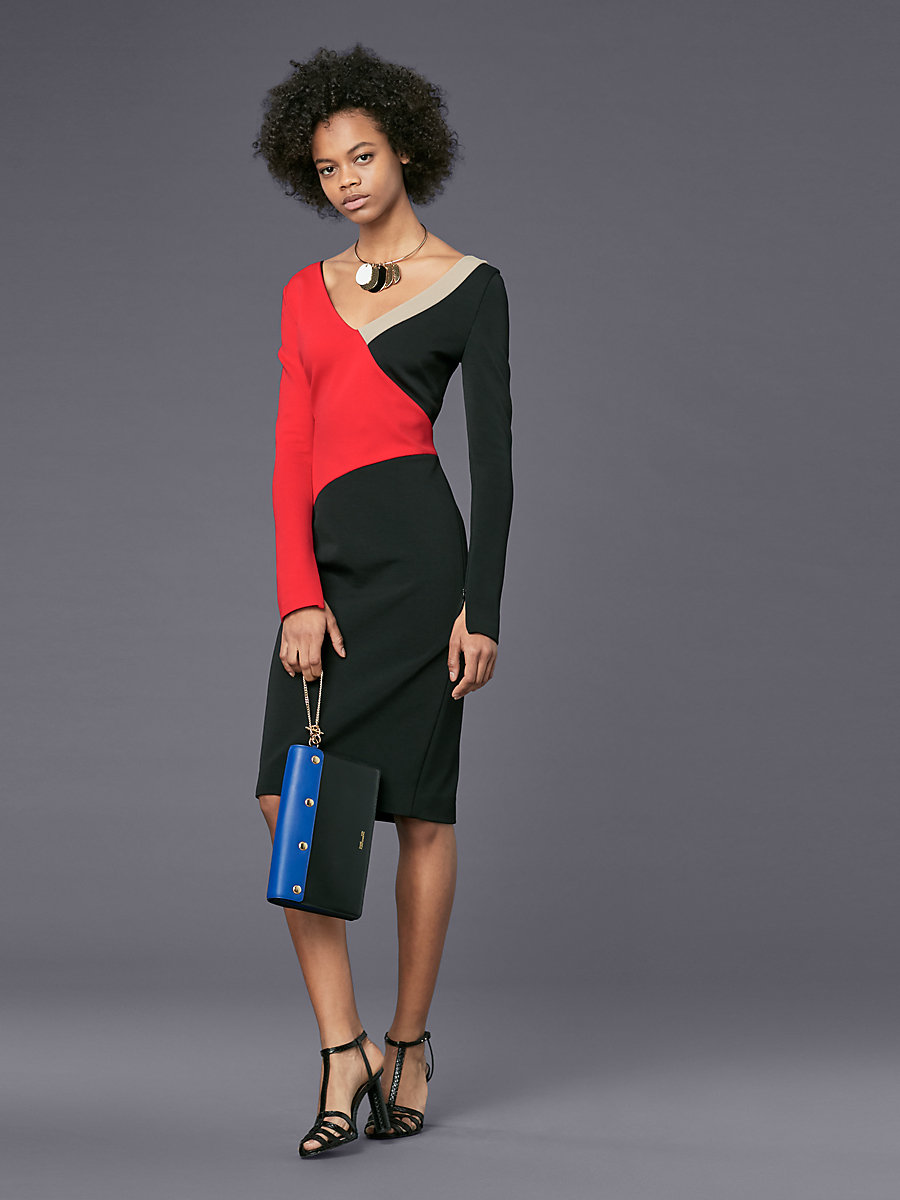 Long-Sleeve V-Neck Banded Dress in Lipstick/ Black/ Dune by DVF