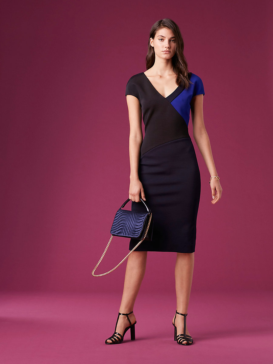 Short-Sleeve V-Neck Banded Dress in Blk/electric Blue/alexander Nv by DVF