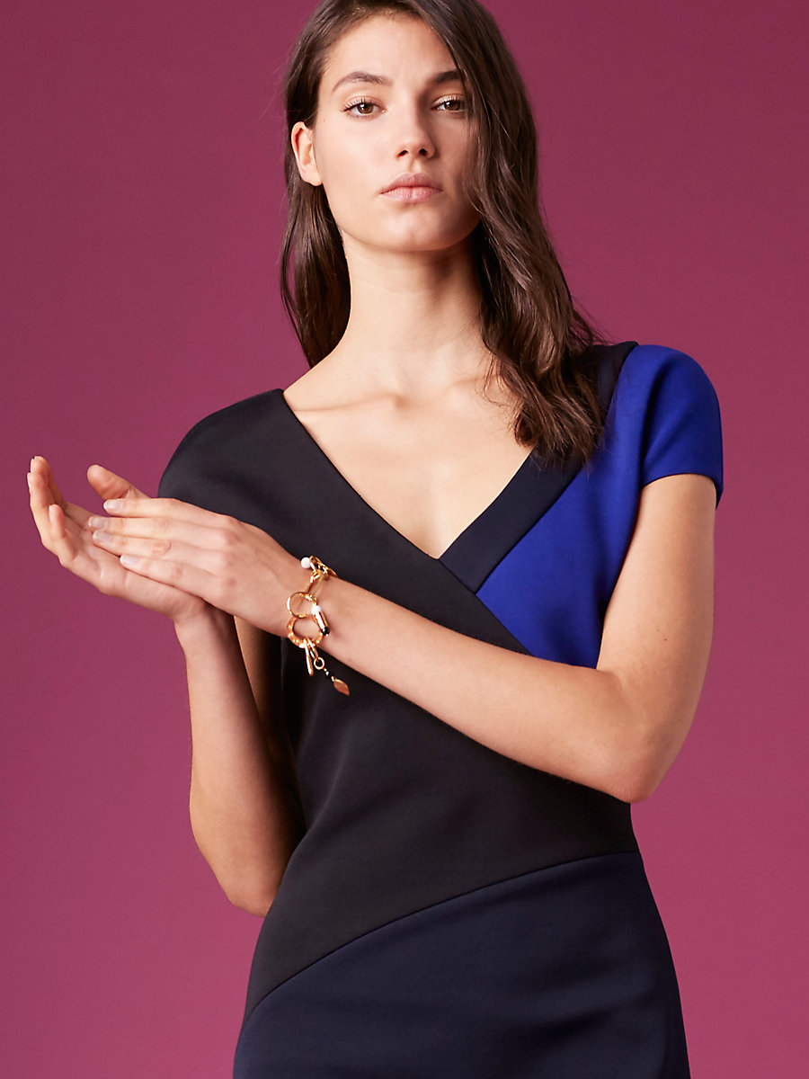 Short-Sleeve V-Neck Banded Dress in Electric Blue/ Alexander Navy by DVF