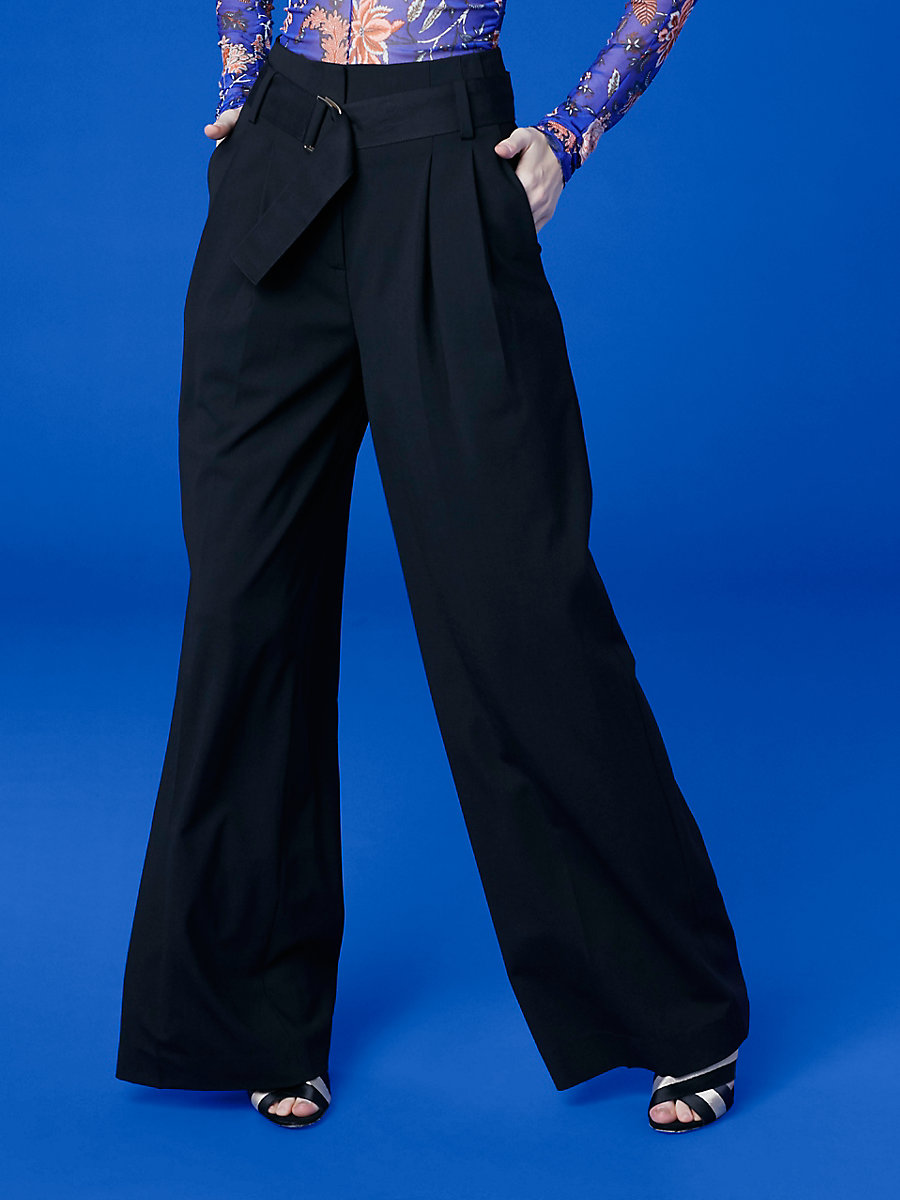 Wide Leg Belted Pant in Black by DVF